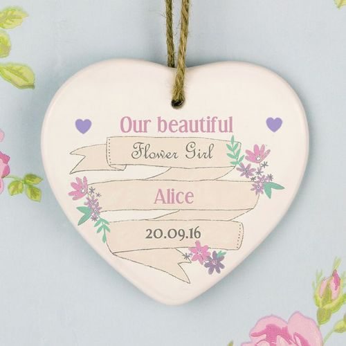 Personalised Garden Bloom Ceramic Heart Decoration